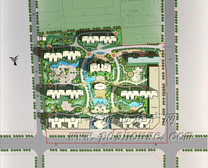 校园绿地设计平面图 长方形