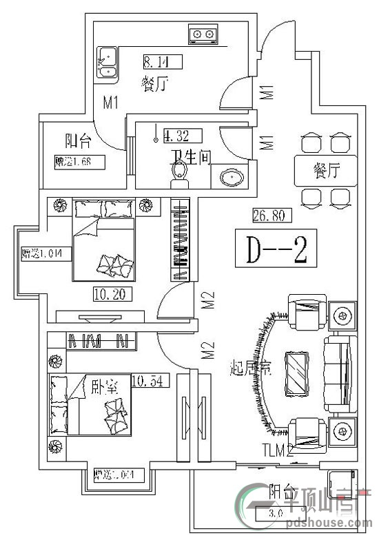 户型说明:d-2户型 设计紧凑,客餐厅相连